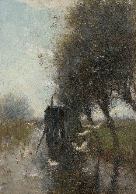 Willem Maris | Ducks settling down on a polder canal, oil on panel, 36.6 x 25.7 cm, signed l.r.