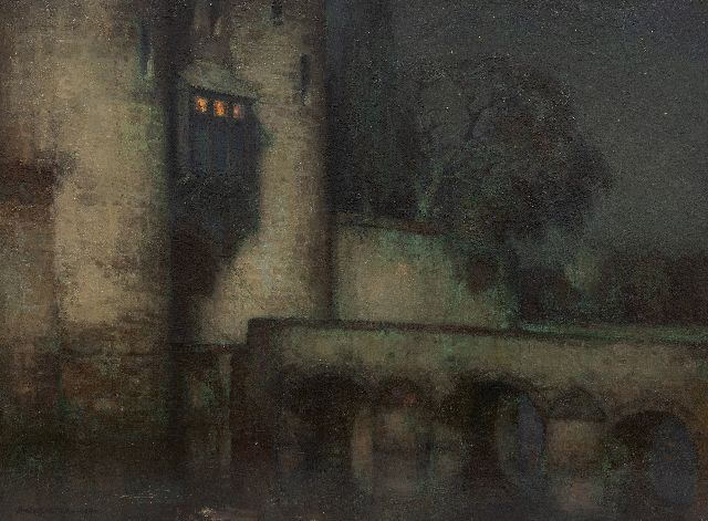 Jan Bogaerts |   Castle with drawbridge at night, oil on canvas, 45.4 x 60.3 cm, signed l.l. and dated 1924