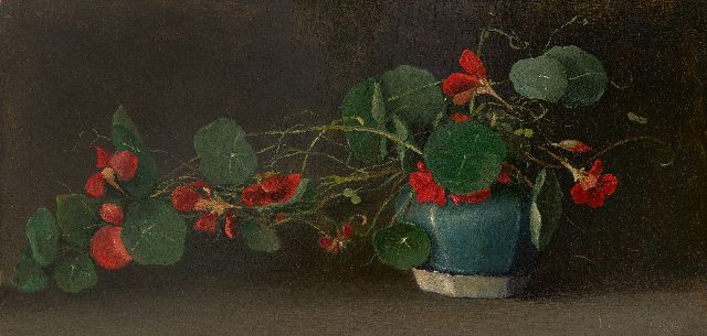 Jacobus Marinus van Bommel | Indian Cress in a ginger pot, oil on panel, 22.3 x 44.1 cm, signed l.r. and dated 1918