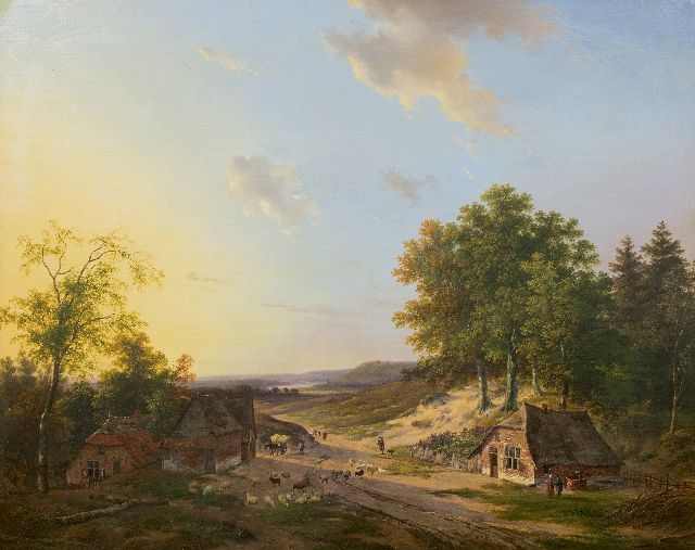 Andreas Schelfhout | Extensive river landscape with a shepherd and land folk, oil on panel, 75.0 x 94.5 cm, signed l.l.