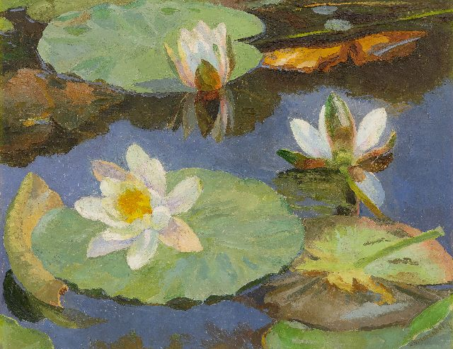 Dirk Smorenberg | Waterlilies, oil on canvas, 41.2 x 53.3 cm, signed l.r.