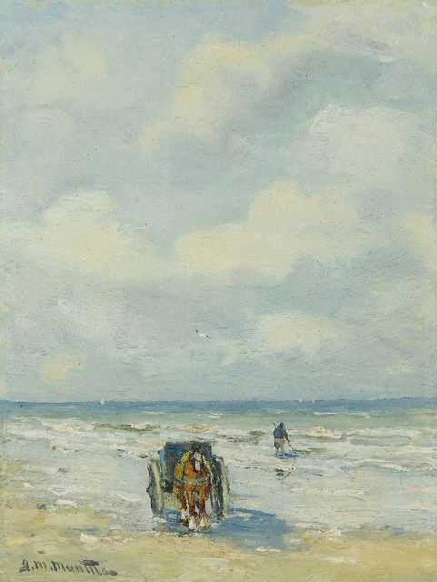Morgenstjerne Munthe | Fishing mussels in the surf, oil on painter's board, 19.9 x 14.9 cm, signed l.l.
