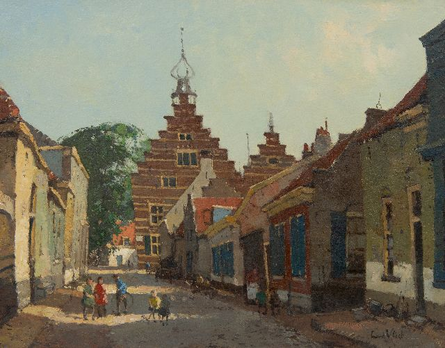 Leendert van der Vlist | Children playing on the street, Naarden, oil on canvas, 28.5 x 35.5 cm, signed l.r.