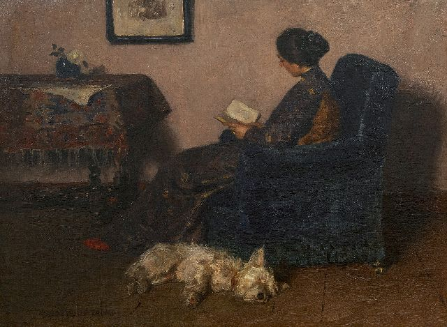 Jan Zoetelief Tromp | The painter's wife reading, with their dog Billie, oil on canvas, 41.5 x 55.5 cm, signed l.l.