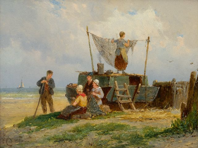 Pieter Cornelis  Dommershuijzen | Fisherfolk drying the nest, oil on panel, 15.0 x 20.2 cm, signed l.l. with initials and dated 1886