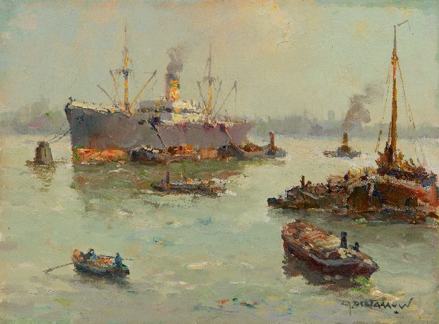 Gerard Delfgaauw | Shipping at Rotterdam, oil on canvas, 18.8 x 24.7 cm, signed l.r.
