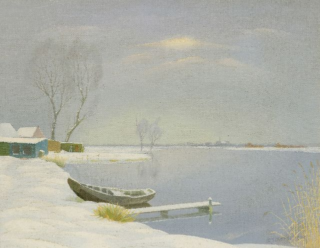 Dirk Smorenberg | The Loosdrechtse Plassen in the winter, oil on canvas, 41.3 x 53.4 cm, signed l.r.