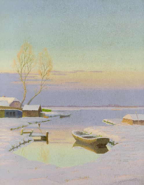 Dirk Smorenberg | The Loosdrechtse Plassen in winter at sunset, oil on canvas, 53.3 x 41.5 cm, signed l.r.