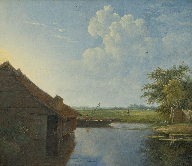 Johannes Hilverdink | An angler in a river landscape, oil on panel, 20.8 x 23.7 cm, signed l.r. with initials