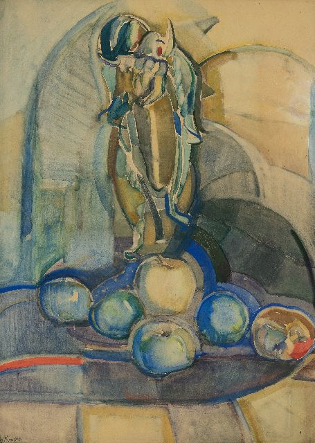 Herman Kruyder | Still life with sunflowers and apples, drawing on paper, 62.0 x 43.0 cm, signed l.l.