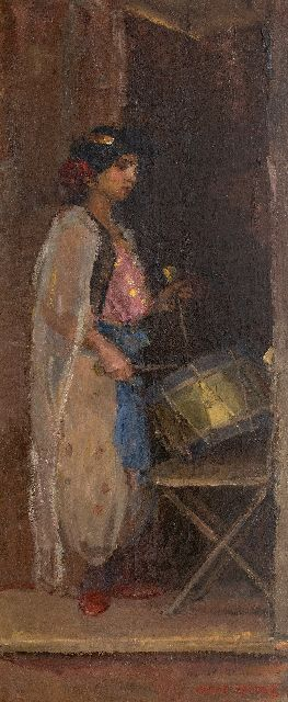 Isaac Israels | The drummer, oil on canvas, 181.0 x 75.0 cm, signed l.r.