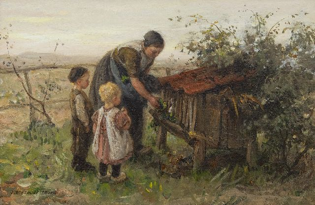 Jan Zoetelief Tromp | Feeding the rabbit, oil on canvas, 26.6 x 40.2 cm, signed l.l.