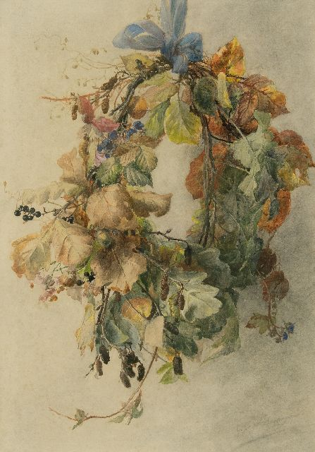 Gerardine van de Sande Bakhuyzen | Autumn wreath, watercolour on paper, 49.3 x 34.3 cm, signed l.r.