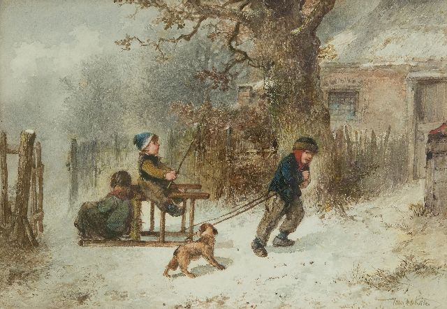 Mari ten Kate | Playing horse and carriage in the snow, watercolour on paper, 25.1 x 35.6 cm, signed l.r.