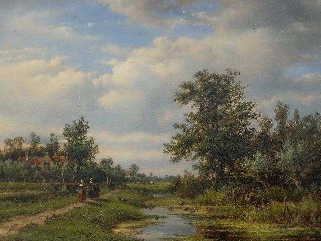 Lodewijk Johannes Kleijn | Farmers on a path along a village creek, oil on canvas, 49.5 x 64.4 cm, signed l.l.