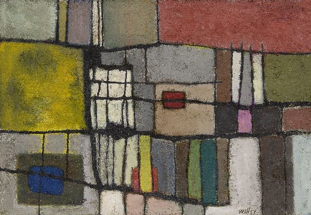 Will Leewens | Stray blocks, oil on board, 46.8 x 67.3 cm, signed l.r. and dated '57