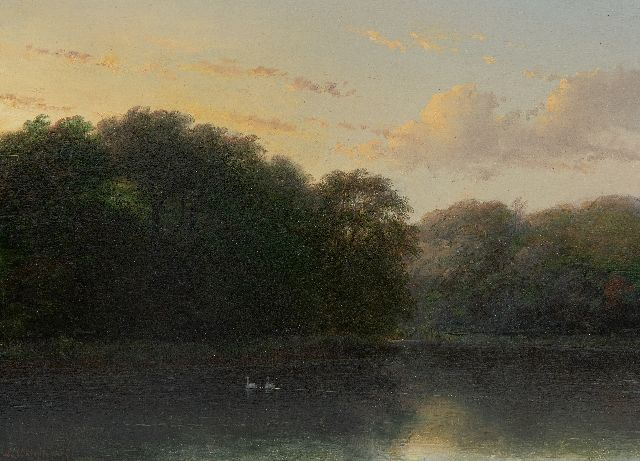 Andreas Schelfhout | Two swans in the pond of the Haagse Bos, oil on panel, 24.0 x 32.6 cm, signed l.l.
