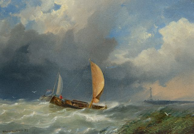 Hermanus Koekkoek jr. | Ships in a storm near a harbor entrance, oil on panel, 21.1 x 30.3 cm, signed l.l. and dated '56