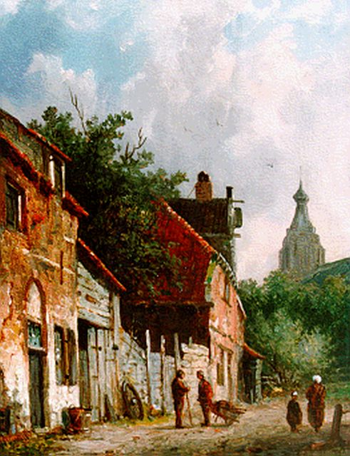 Adrianus Eversen | A sunlit street, Delft, oil on panel, 19.0 x 14.6 cm, signed l.r.