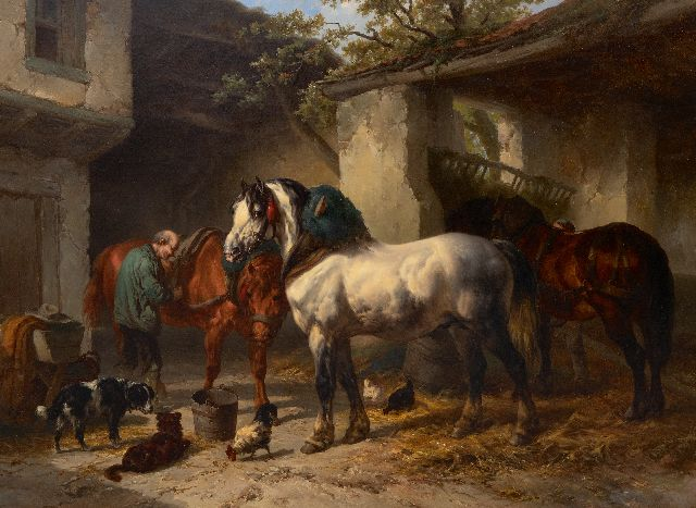 Wouterus Verschuur | Horses in a stableyard, oil on canvas, 76.3 x 106.2 cm, signed l.l.