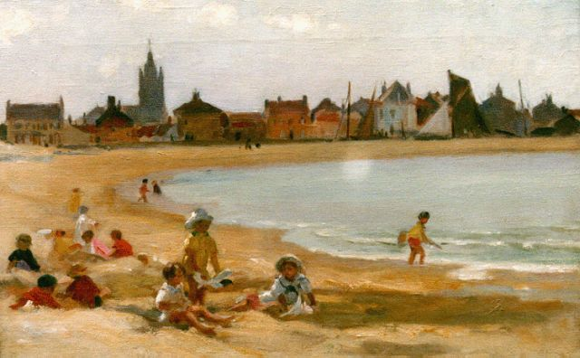 Paul Michel Dupuy | Playing on the beach of Gravelines, oil on canvas, 31.5 x 46.2 cm, signed l.l.