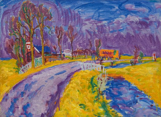 Johan Dijkstra | Country road in Groningen, wax paint on canvas, 54.0 x 72.7 cm, painted ca. 1928