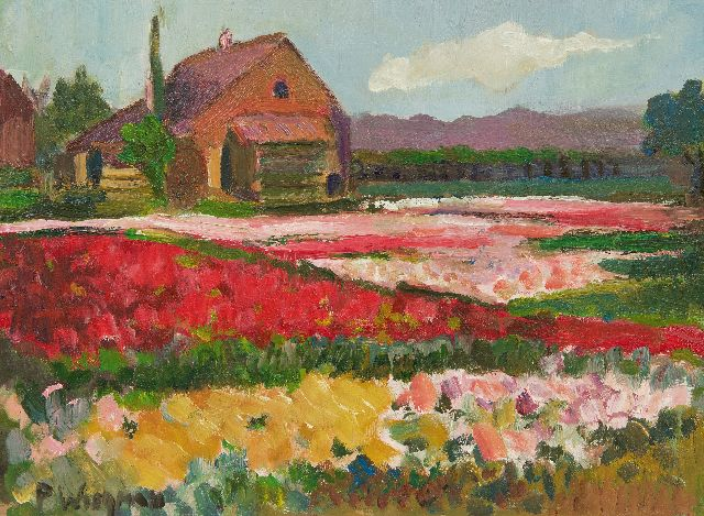 Wiegman P.J.M.  | Bulb fields, oil on board 29.4 x 39.3 cm, signed l.l.
