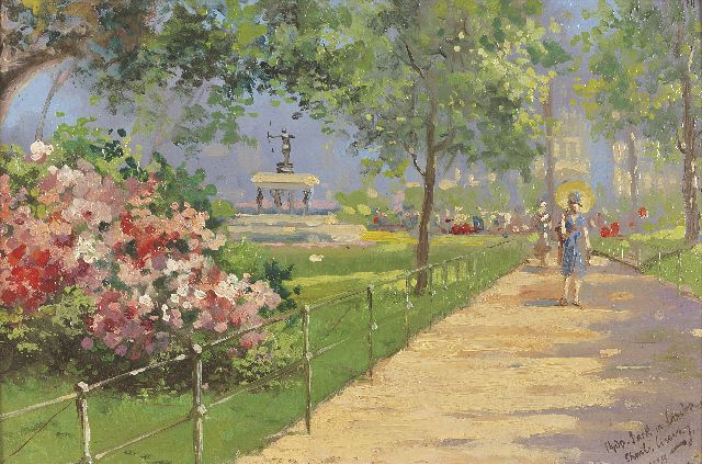 Charles Conway II | Hyde Park, London, oil on board, 19.6 x 29.5 cm, signed l.r. and dated 1924