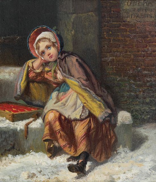 Jan Fabius | A girl selling matches in the snow, oil on panel, 21.7 x 18.9 cm, signed u.r.