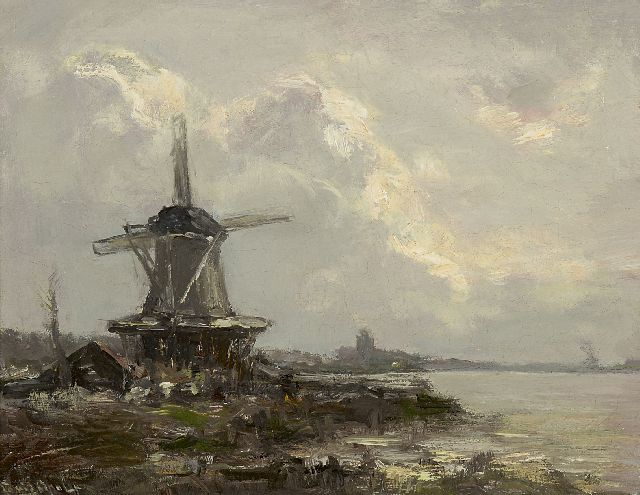 Louis Apol | A windmill on the river Vliet, oil on canvas, 25.3 x 32.5 cm, signed l.l.