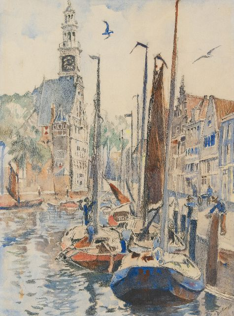Dülmen Krumpelmann E.B. von | The harbour of Hoorn, black chalk and watercolour on paper 75.8 x 57.0 cm, signed l.r.