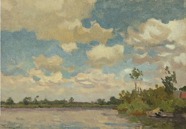 Willem Bastiaan Tholen | River on a windy day, oil on canvas laid down on panel, 20.3 x 28.5 cm, signed l.l. and dated '05