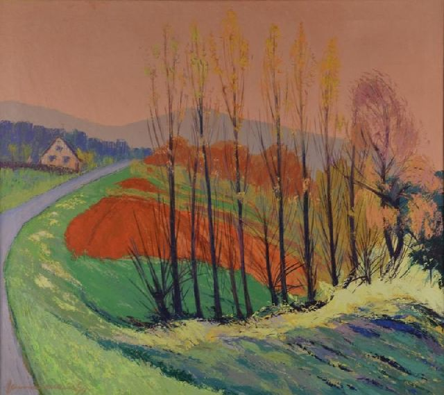Jannes de Vries | Spring in Altdorf Hagenhausen, Bavaria, oil on canvas, 80.5 x 90.0 cm, signed l.l. and dated '74