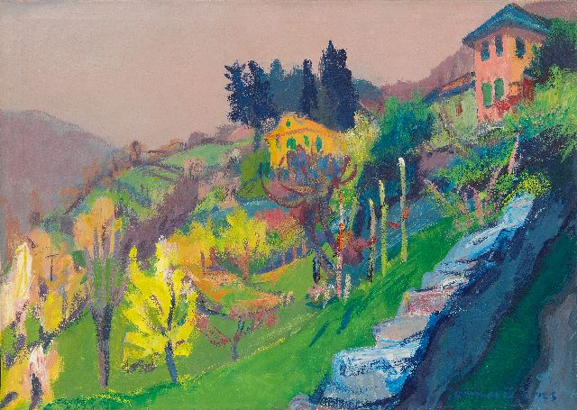 Jannes de Vries | Landscape at Domodossola, Italy, oil on canvas, 50.3 x 70.4 cm, signed l.r.
