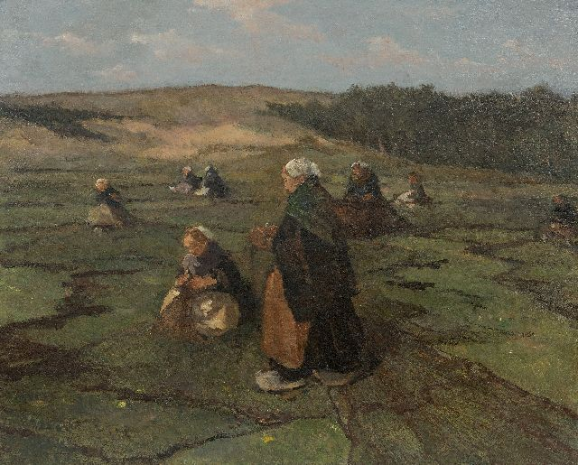 Johannes Evert Hendrik Akkeringa | Mending fishing nets in the dunes, oil on panel, 47.1 x 58.4 cm