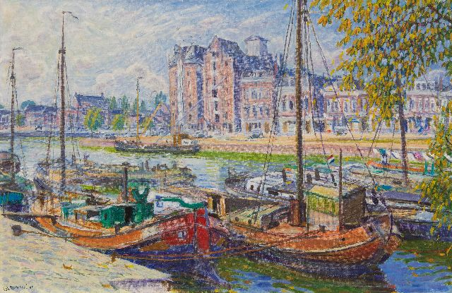 Johan Dijkstra | The Westerhaven in Groningen, oil on canvas, 60.1 x 100.0 cm, signed l.l. and dated '60