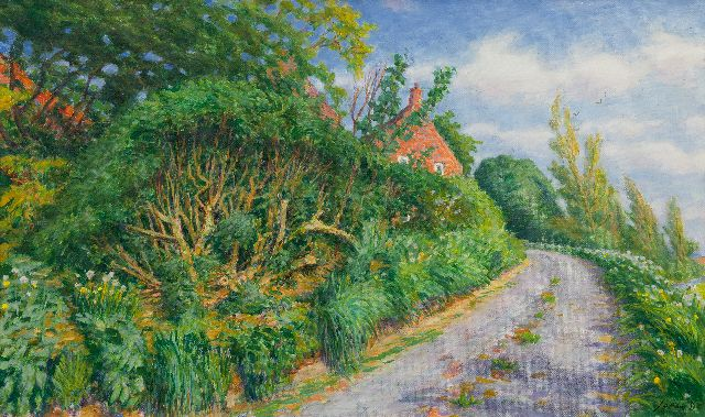 Johan Dijkstra | Country road in Ezinge, Groningen, oil on canvas, 60.0 x 100.0 cm, signed l.r.