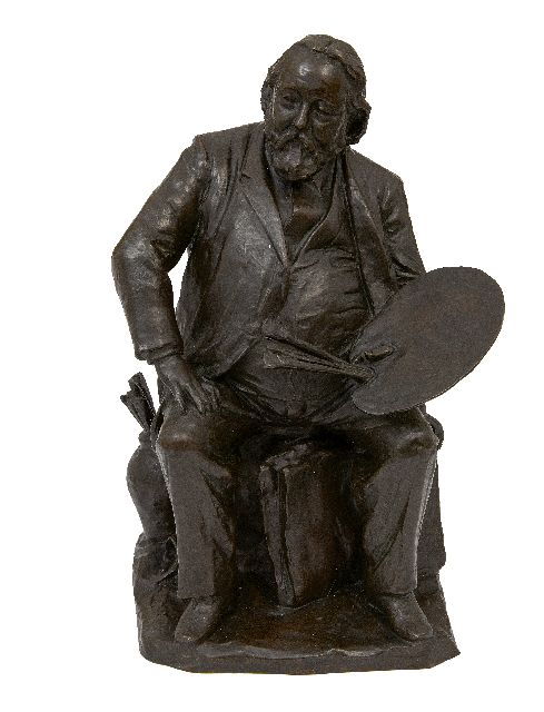 Arend Odé | The Dutch painter Jacob Maris, bronze, 43.0 x 27.5 cm, signed on the portfolio and dated '95