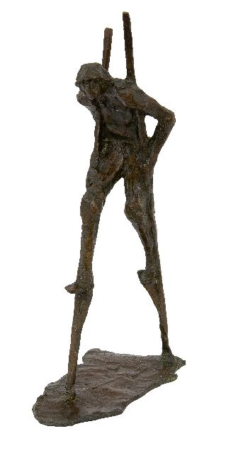 Jan Bakker | Stilt walker, bronze, 32.0 x 8.0 cm, signed on the base