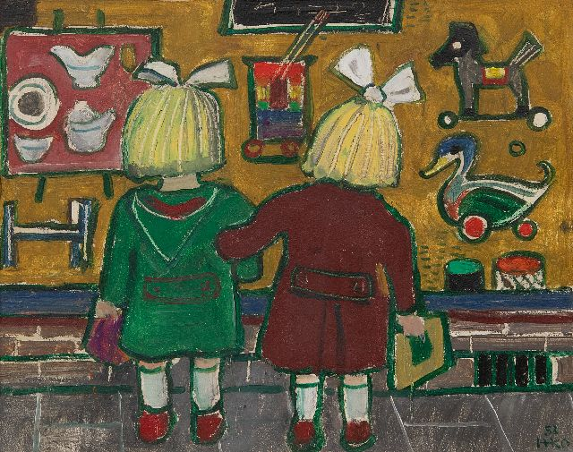 Harm Kamerlingh Onnes | Children in front of the window of a toyshop, oil on board, 23.7 x 29.7 cm, signed l.r. with monogram and dated '53
