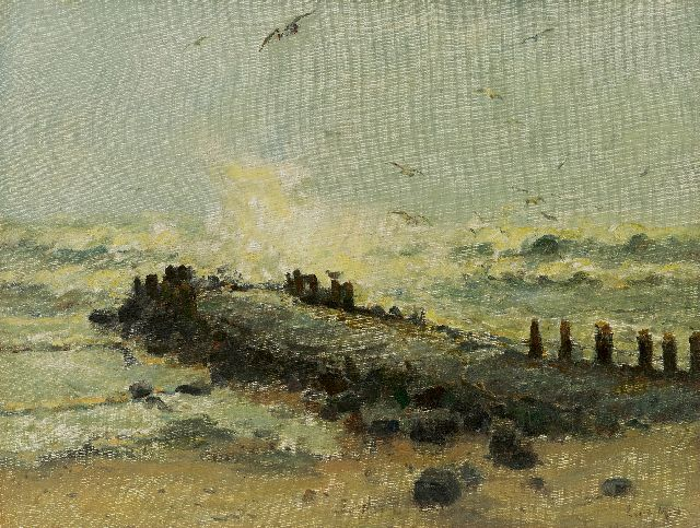 Evert Moll | A breakwater in a storm, oil on canvas, 39.0 x 51.4 cm, signed l.r.
