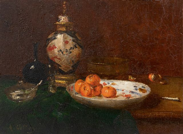 Antoine Vollon | Still life with tangerines and an Imari lidded vase, oil on panel, 26.6 x 35.1 cm, signed l.l.