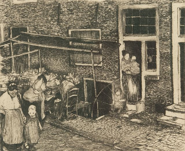 Piet van der Hem | Alley in Amsterdam, etching, 14.3 x 17.3 cm, signed l.r. and dated '30 jan. 1911'