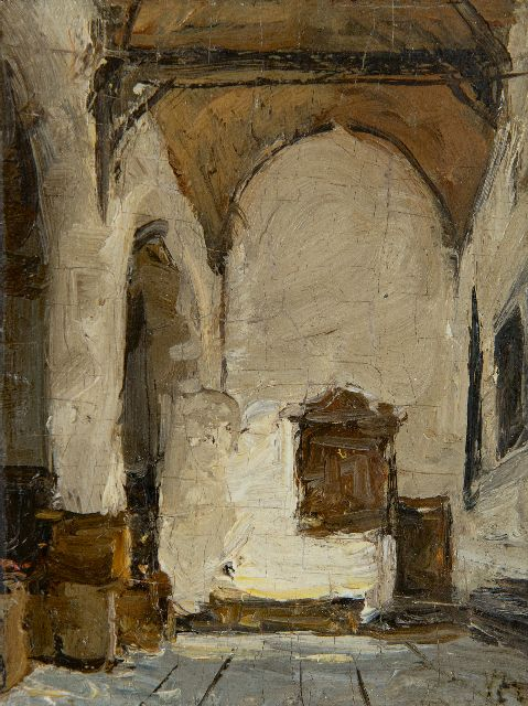 Johannes Bosboom | Church interior, oil on panel, 12.0 x 9.1 cm, signed l.r. with initials