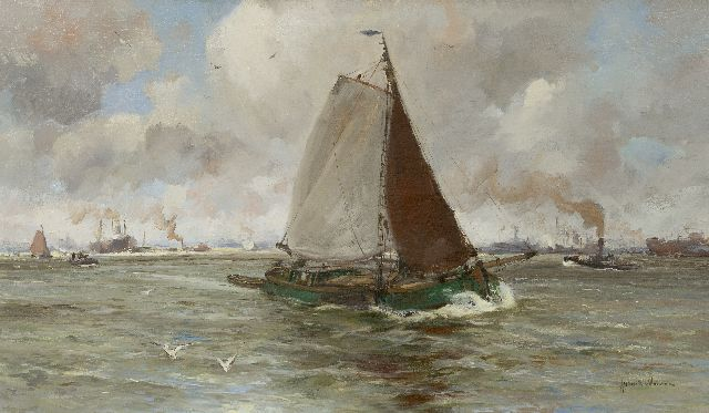 August van Voorden | Barge on the river Maas, oil on canvas, 57.6 x 97.9 cm, signed l.r.