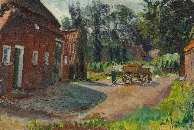 Jan Altink | Farmyard with cart, oil on canvas, 44.4 x 66.1 cm, signed l.r. and dated '39