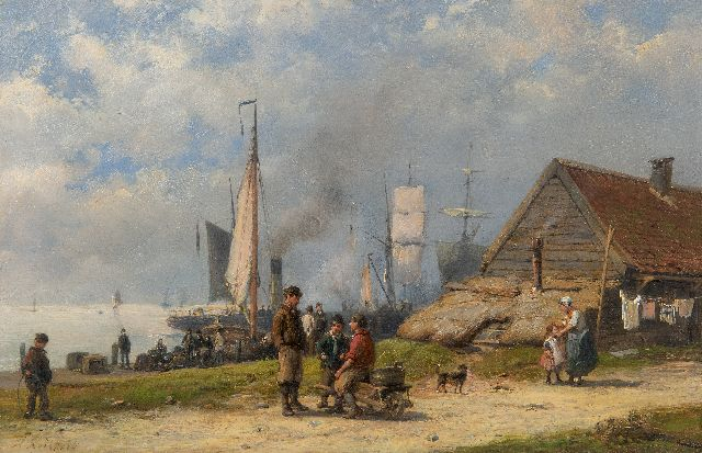 Hermanus Koekkoek | Fishermen and travellers at a rural harbour, oil on panel, 21.3 x 32.5 cm, signed l.l.