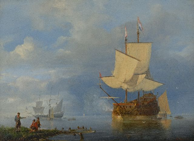 Antonie Waldorp | The gun salute, oil on panel, 21.1 x 28.5 cm, signed l.r.