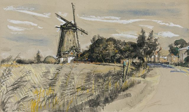 Johan Dijkstra | View on Eenrum with the Lutje Meulen, watercolour on paper, 40.3 x 67.2 cm, signed l.l.