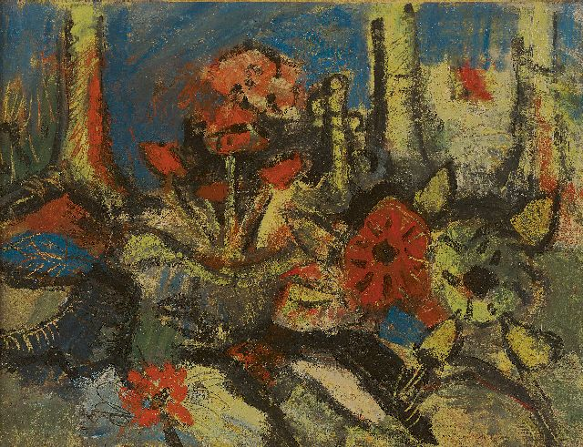 Herman Kruyder | Flowers and trees, oil on canvas, 30.7 x 40.4 cm, painted ca. 1925